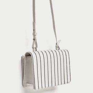 ZARA Contrasting Stripes Leather Crossbody Bag